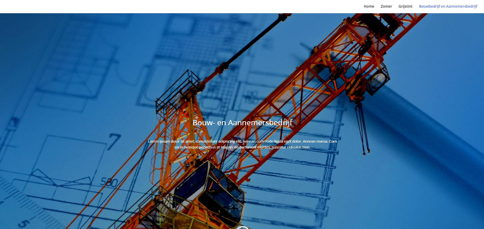 Voorbeeld van template Bouwbedrijf website