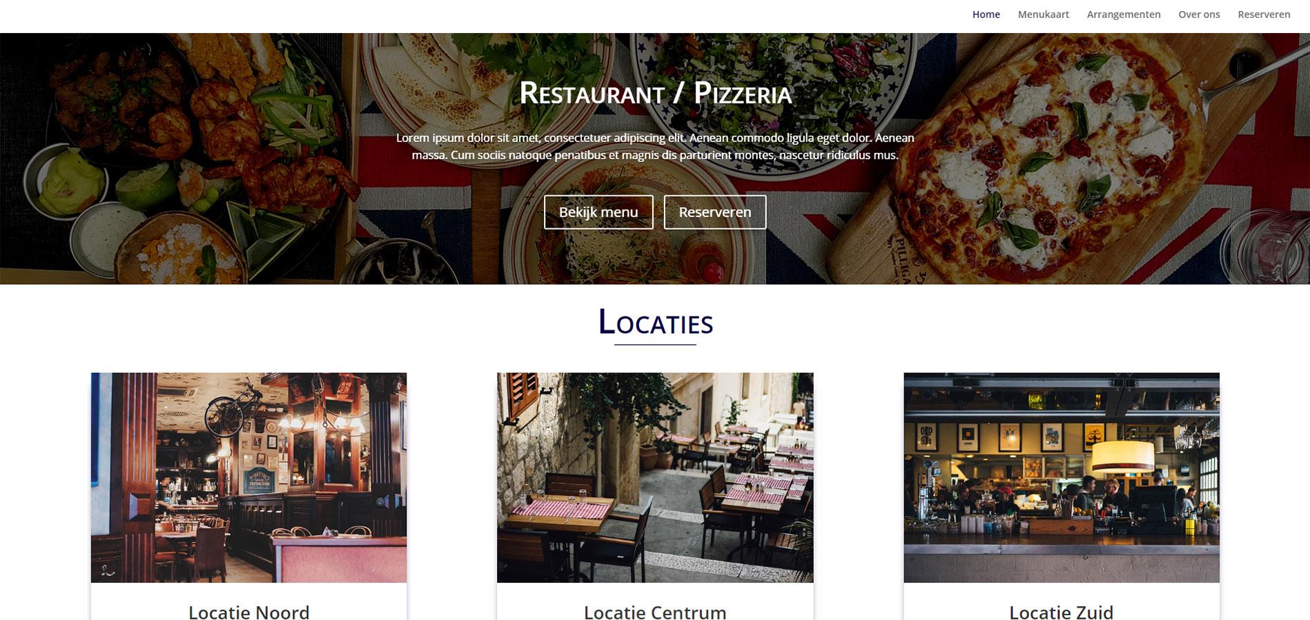 Voorbeeld van template Restaurant website